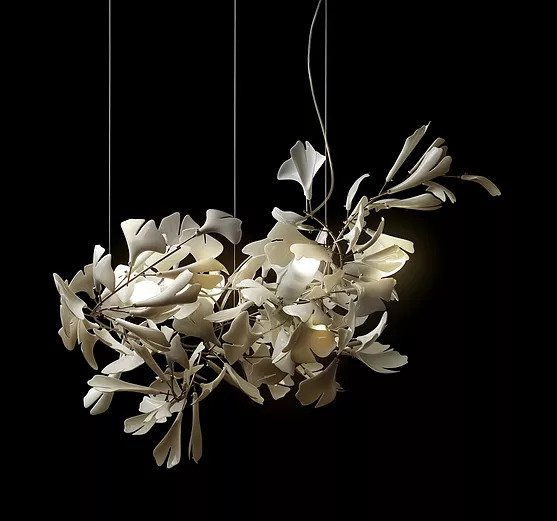 nature inspired porcelaine chandelier