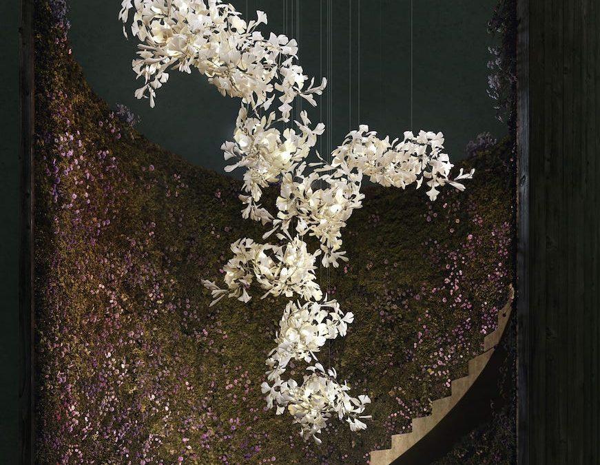nature inspired porcelain chandelier ginkgo bespoke 1120