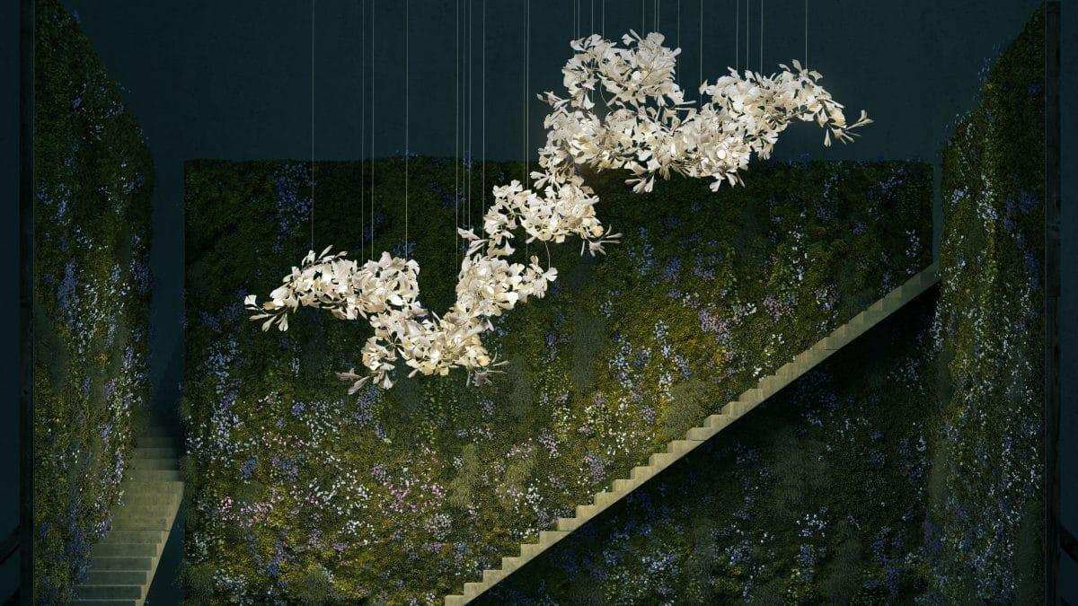 contemporary chandelier gingko bespoke collection