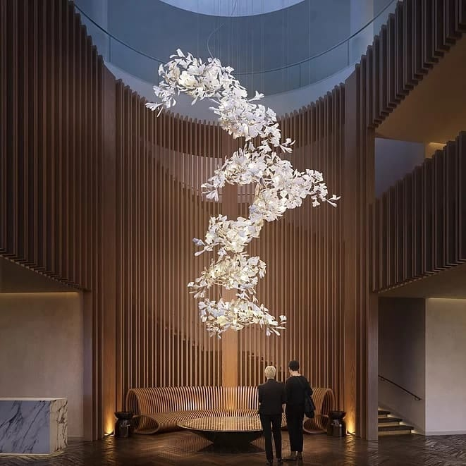 modern bespoke lighting gingko for appartament and mansion