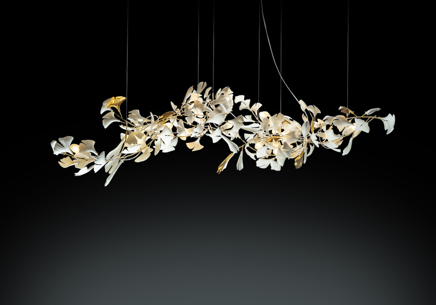 light sculpture porcelaine chandelier ginkgo 155