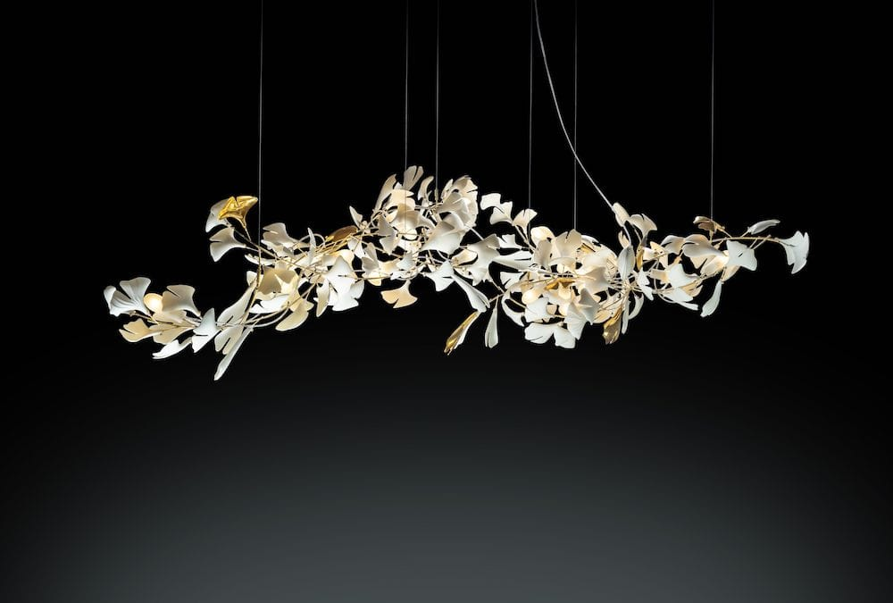 nature inspired chandelier ginkgo